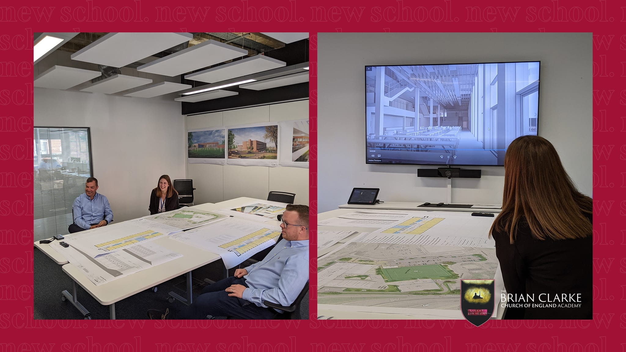 Allison with members of the Willmott Dixon team, reviewing plans and watching the fly-through animation